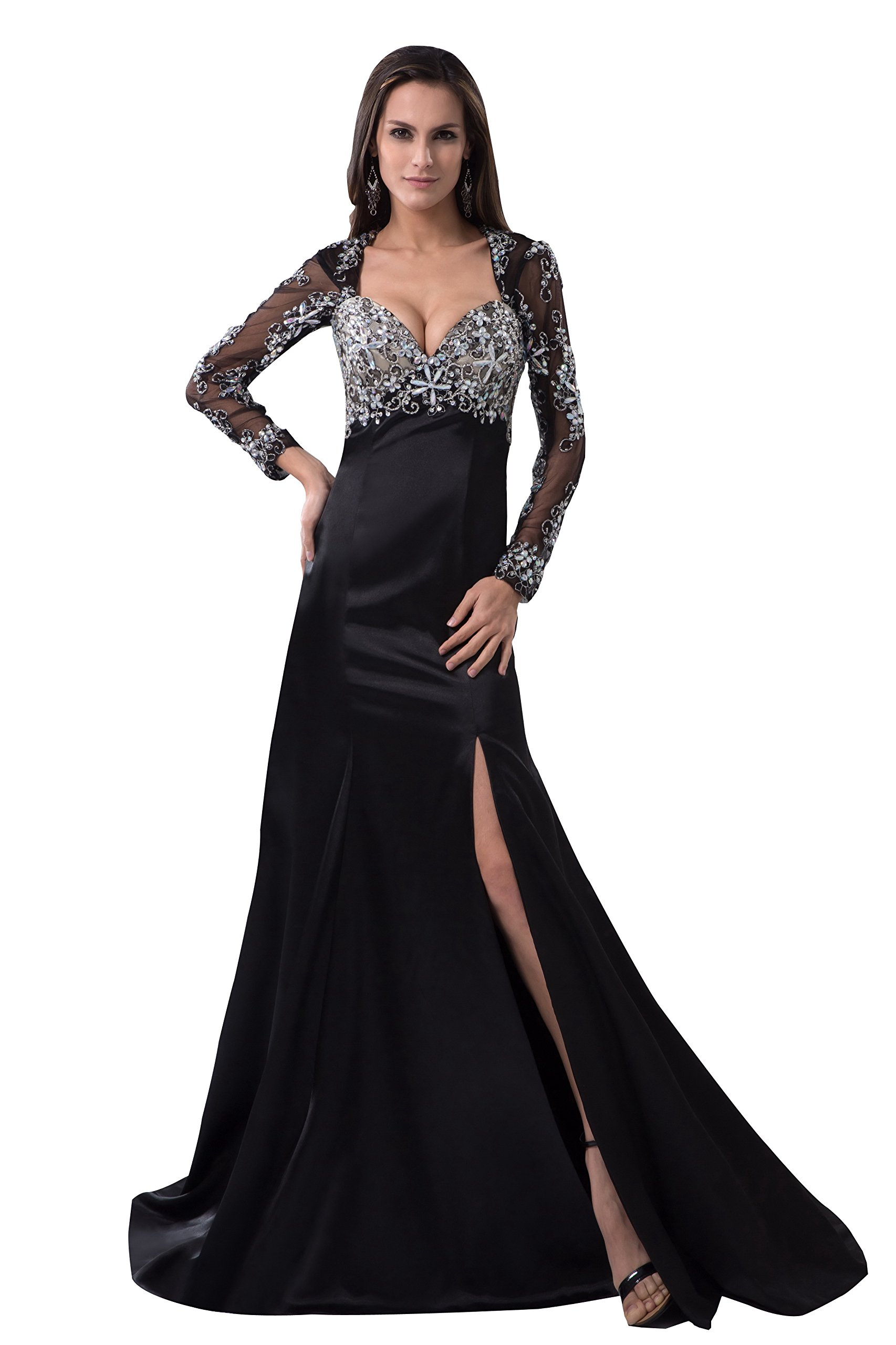 Vogue007 Womens Sweetheart Long Sleeve Backless Formal Dress with Sewing Beads, Black, 22W by Unknown