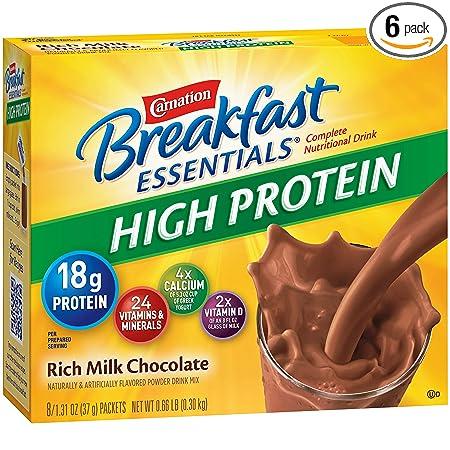 Carnation Breakfast Essentials High Protein Powder Drink Mix, Rich Milk Chocolate, Box Of 10 Packets (Pack Of 6) by Carnation Breakfast Essentials
