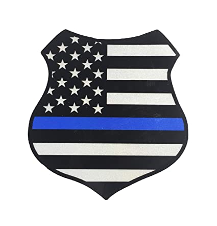 6b2785e2d03 Amazon.com  Empire Tactical USA The Police Thin Blue Line Shield Reflective  Badge Decal Sticker Ultra Us Made 3m Vinyl Die Cut