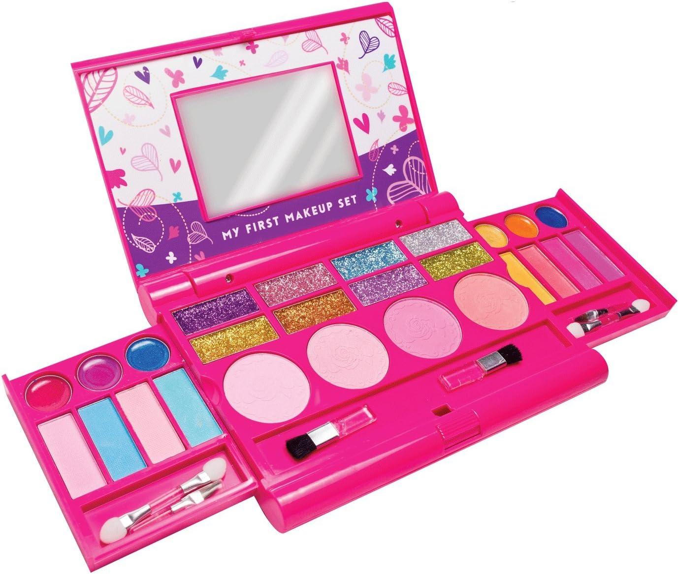 Mi primer set de maquillaje, kit de maquillaje para niñas, paleta de maquillaje desplegable con espejo y cierre de seguridad - Seguridad Comprobada - No Tóxico (Diseño original)