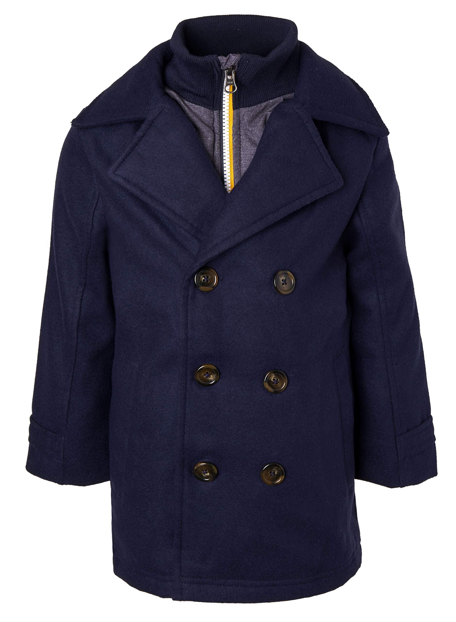 Sportoli Boys Classic Wool Look Lined Winter Vestee Dress Pea Coat Peacoat Jacket - Navy Vestee (Size 7)