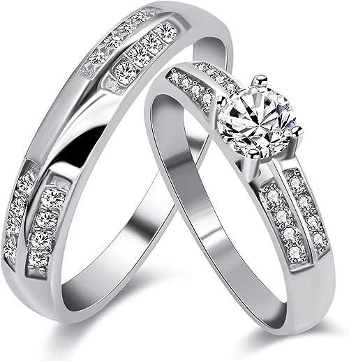 Amazon Com Uloveido Platinum Plated Cubic Zirconia Stone 2 Couple
