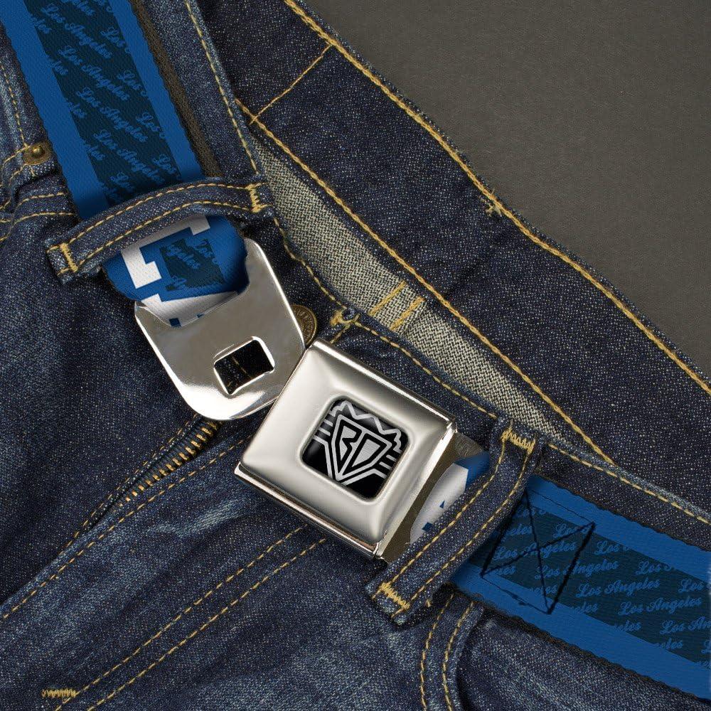 20-36 Inches in Length 1.0 Wide LA//LOS ANGELES Script Stripe Blues//White Buckle-Down Seatbelt Belt