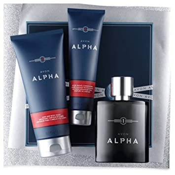 Avon ALPHA Cologne Spray For Men 3 Piece Set In Gift Box (box Imperfection  From