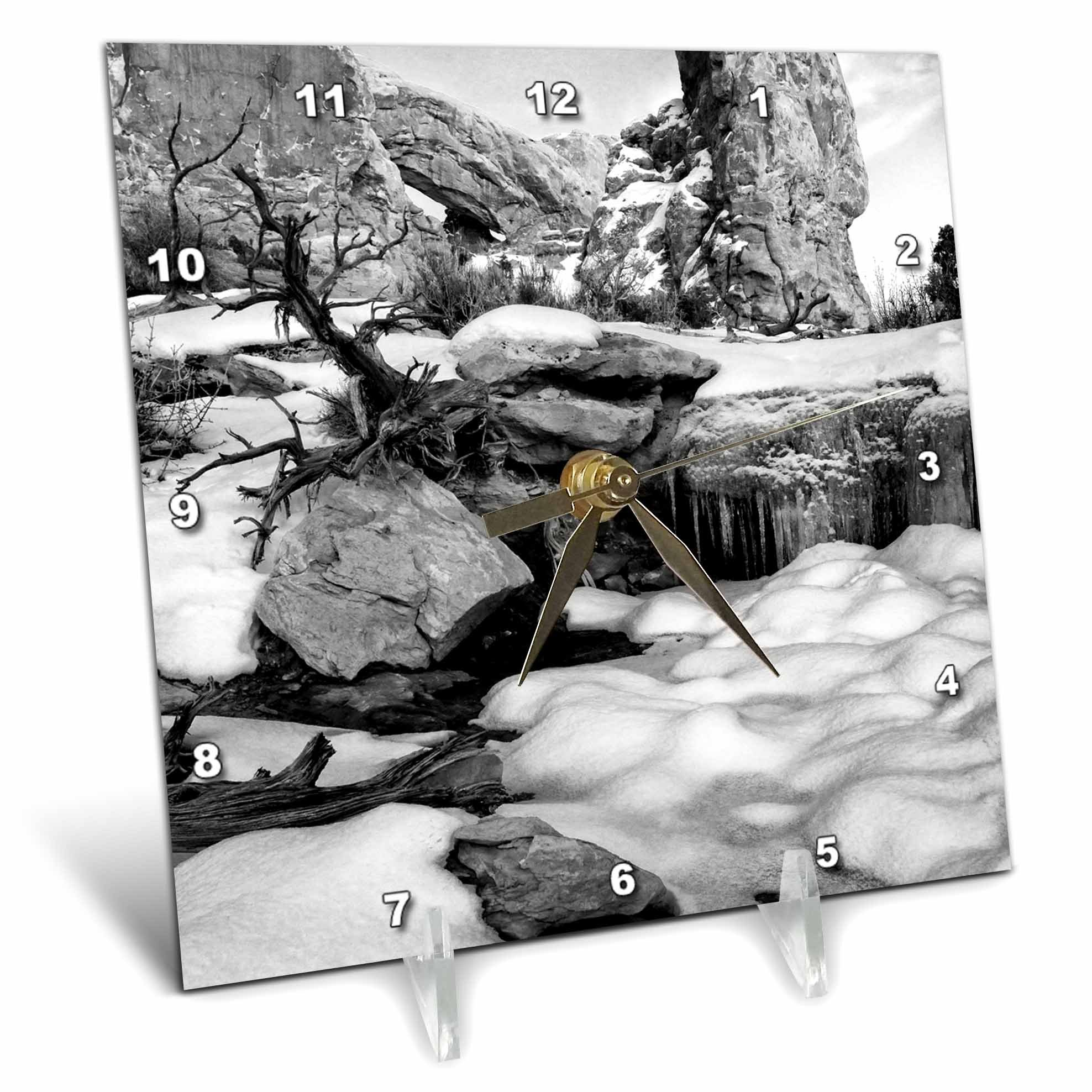 3dRose Danita Delimont - Utah - Usa, Utah. Arches NP, Snow and icicles in front of the South Window - 6x6 Desk Clock (dc_260263_1)