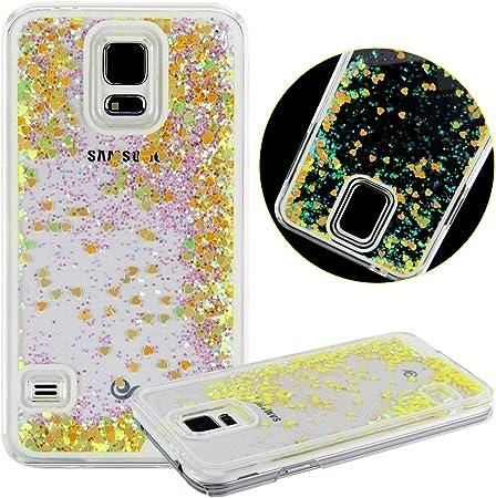 Funda para Samsung Galaxy S5,Case Cover para Samsung Galaxy S5,URFEDA Bling Shiny Brillante Amor Loveheart Cubierta para Samsung Galaxy S5,Cristal Clear Estuche Carcasa de Transparente duro Plástico para Samsung Galaxy S5.: Amazon.es: