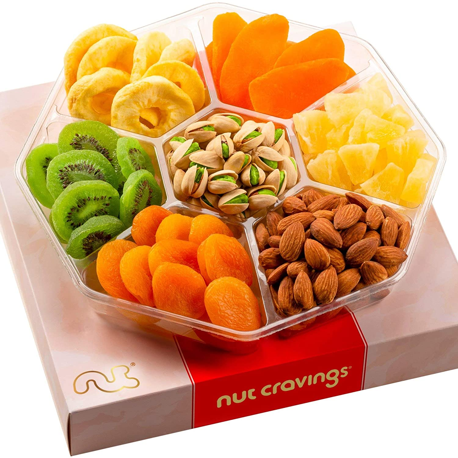 Gourmet Dried Fruit & Nut Gift Basket, Red Box (7 Mix Tray) - Easter Food Arrangement Platter, Care Package Variety, Prime Birthday Assortment, Healthy Kosher Snack Tray for Women, Men, Adults