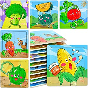 12 Pack Kids Puzzles - Wooden Mini Jigsaw Puzzles 16 Pieces - Travel Toys for Boys and Girls