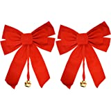 """Set of 2 Large Red Velvet Christmas Bows 10"""" x 15"""" with Metal Bell (2)"""