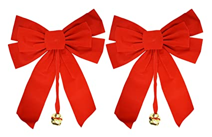 set of 2 large red velvet christmas bows 10 x 15