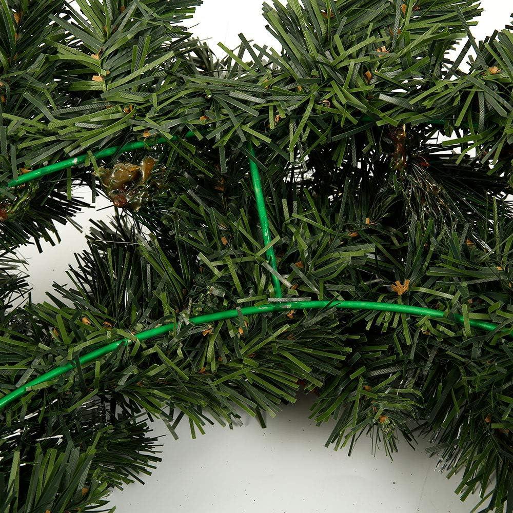 Style 2 FullLove 1.8m Guirlande Rotin Sapin Artificiel No/ël Vert avec 30LED Pomme de Pin Baies Rouge Branche Artificielle Sapin 150T/ête pour Chemin/ée Escalier Porte Fen/être