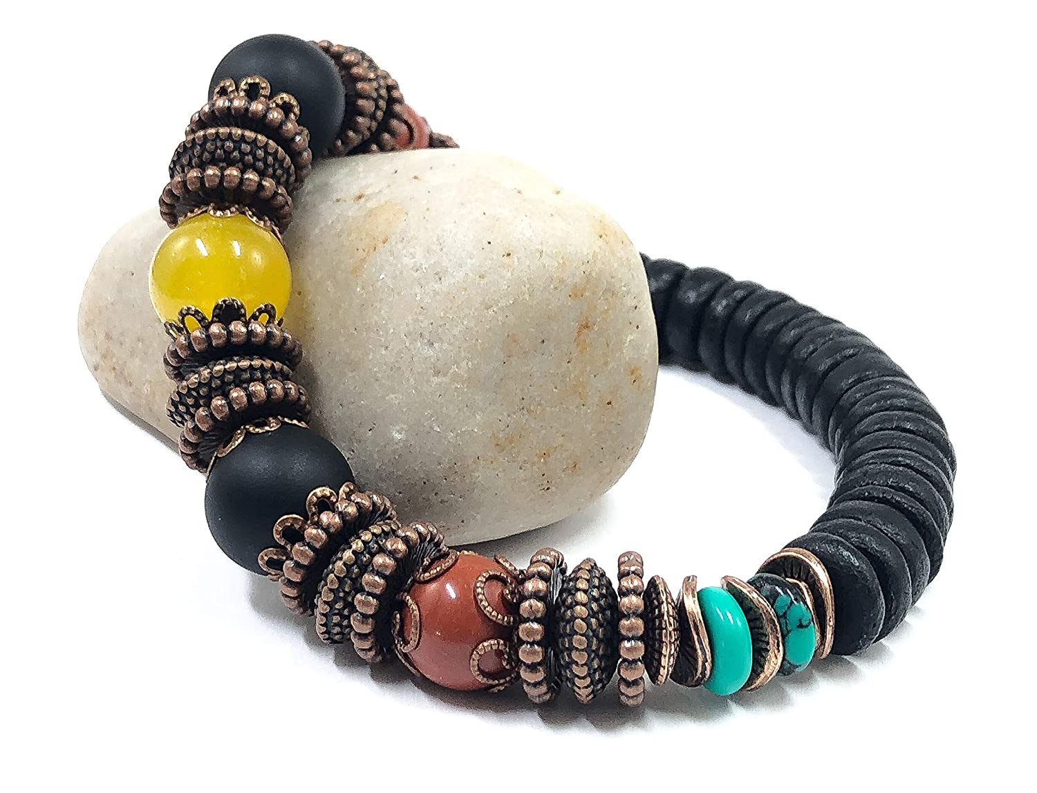 Jamaican Rasta Jewelry 8 inches to 8.5 inches Stretch Bracelet for Women Men
