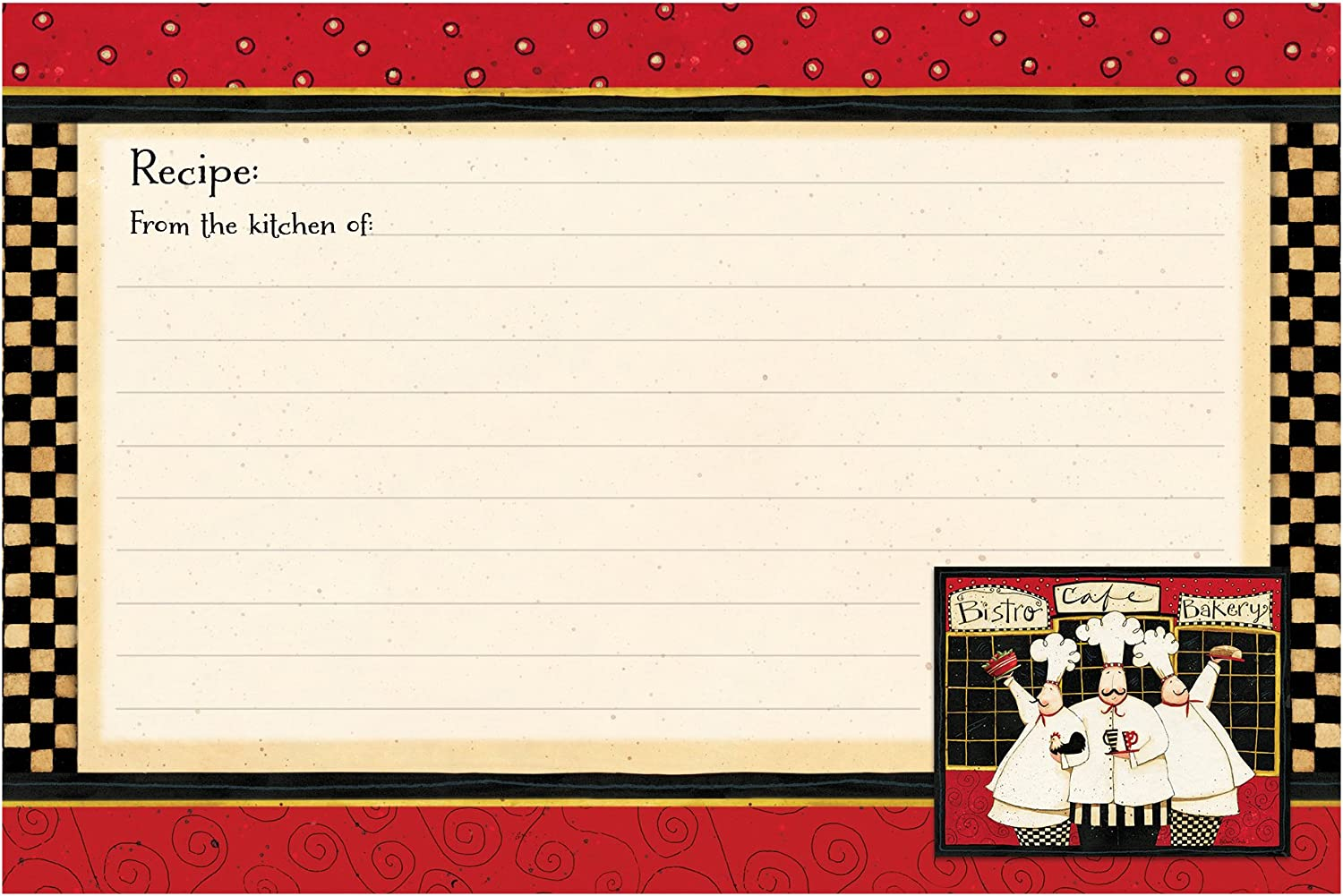 36-Count Red Bistro Chef Brownlow Gifts 4 x 6 Lined Recipe Cards