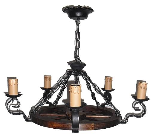 Lámpara rústica de rueda de carro 5 luces, diámetro total 70 cm.