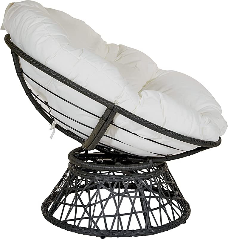 OSP Home Furnishings Papasan Chair with 360-degree Swivel, White Cushion and Black Frame