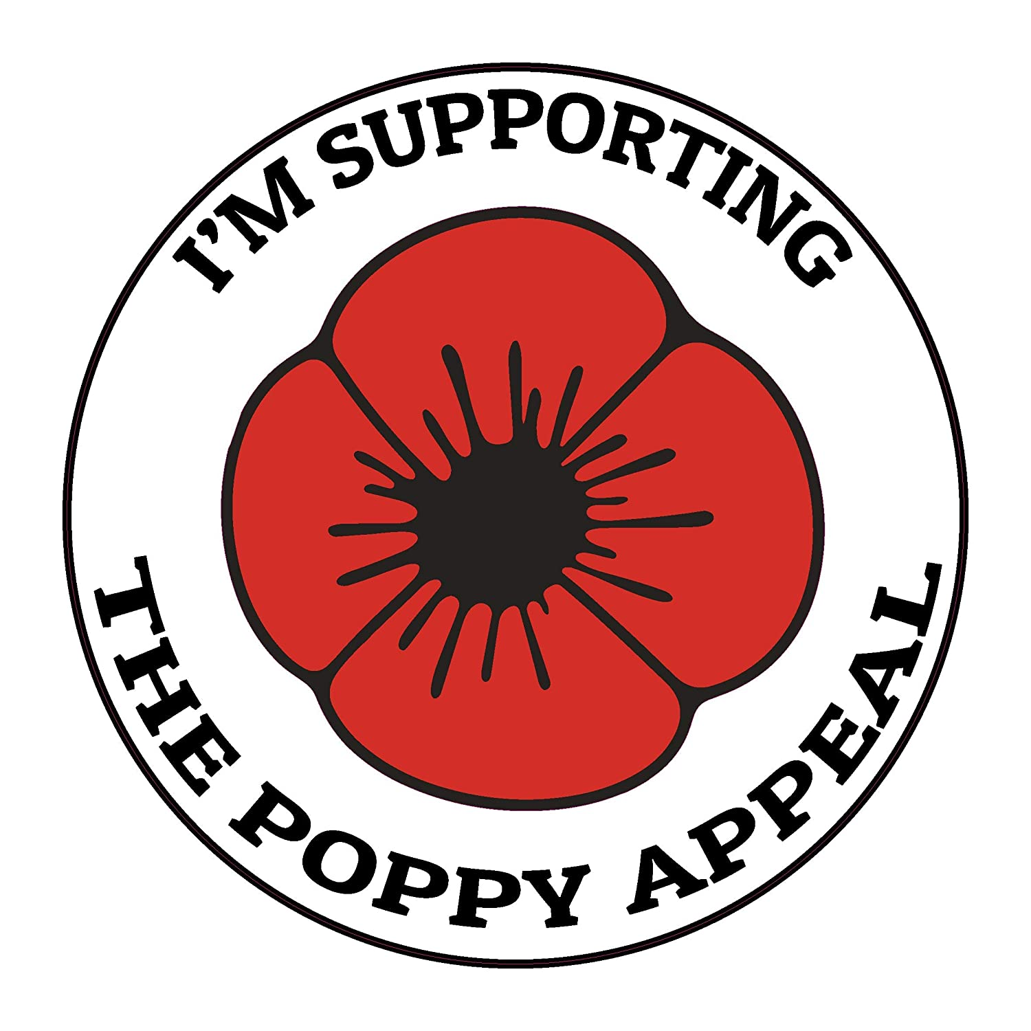 Influent UK I support poppy appeal Lest We Forget Remembrance Day Sticker, Mug, Poppy Flower Decal, Car, Window, Fridge, Laptop Sticker (Large) Influent-UK