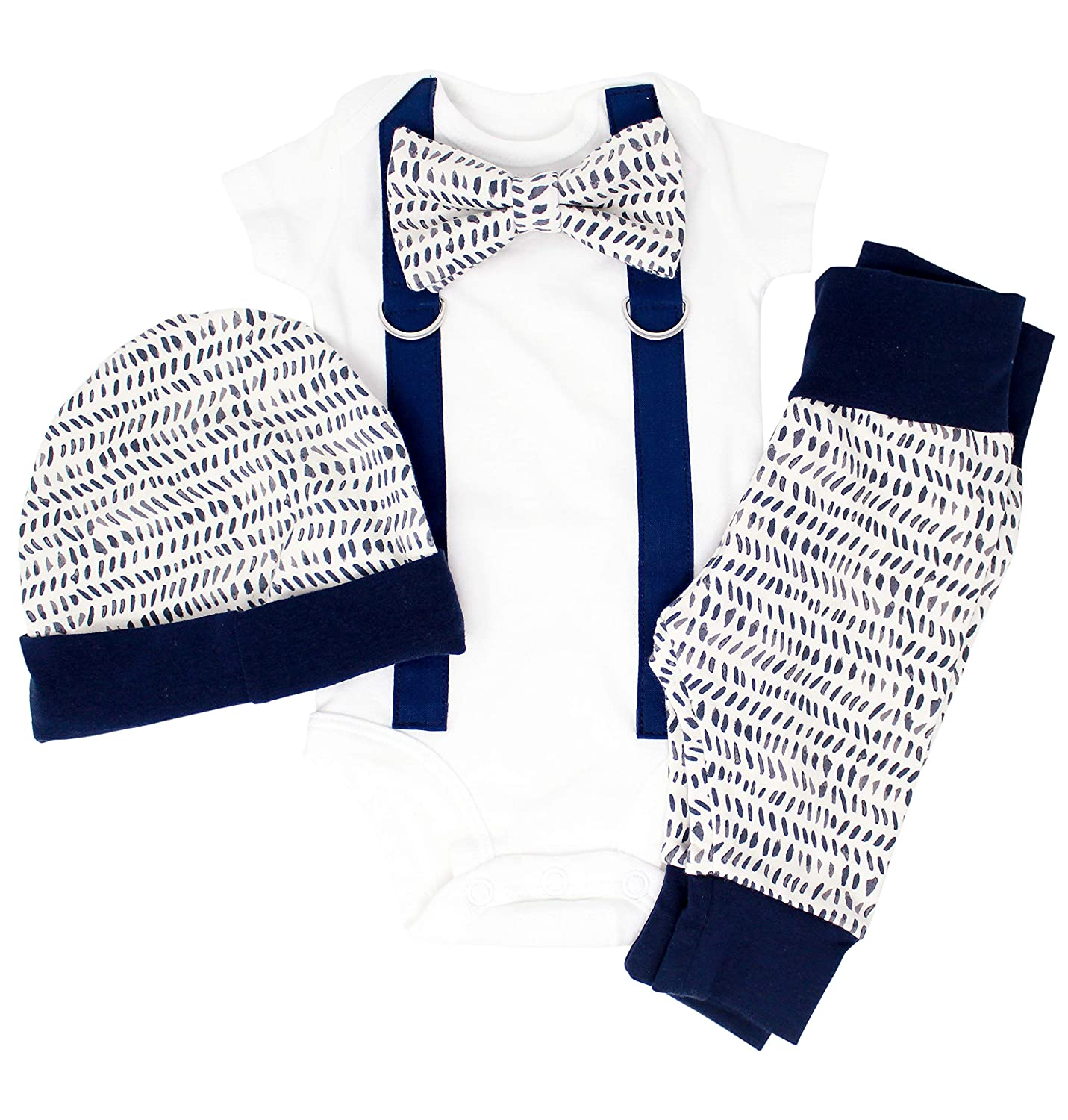 47fc001f4639 Amazon.com  Baby boy Coming Home Outfit in Navy with hat. Newborn Clothes  for boy. Leggings and Beanie. Boho Hipster  Clothing