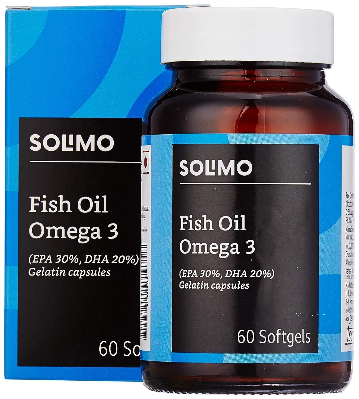 Amazon Brand - Solimo Omega-3 Fish Oil 1000mg (EPA : 300mg, DHA : 200mg) - 60 Softgels