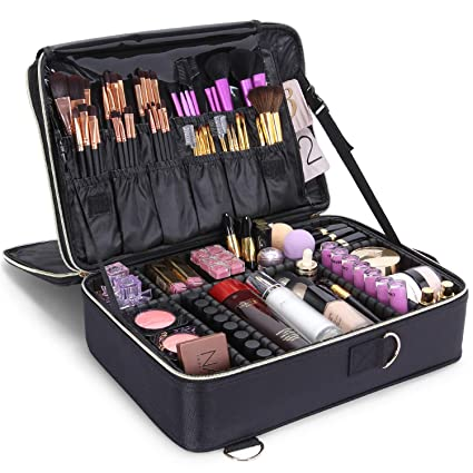 Lifewit 3-Layers Large Makeup Bag Train Case, Travel Professional Cosmetic Organizer Bag with Adjustable Divider, Black