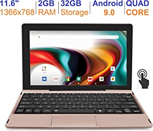 RCA 11 Delta Pro 11.6 Inch Quad-Core 2GB RAM 32GB Storage IPS 1366 x 768 Touchscreen WiFi Bluetooth with Detachable Keyboard Android 9.0 Tablet (Rose Gold)