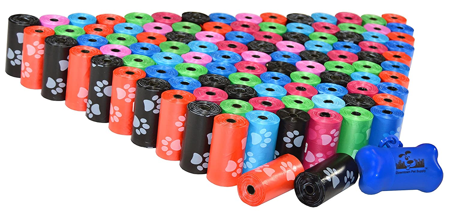Rainbow with Paw Prints 2200 Bags Rainbow with Paw Prints 2200 Bags 2200 Pet Waste Bags, Dog Waste Bags, Bulk Poop Bags on a roll, Clean up Poop Bag Refills (color  Rainbow of colors with Paw Prints) + Free Bone Dispenser, by Downtown Pet Supply