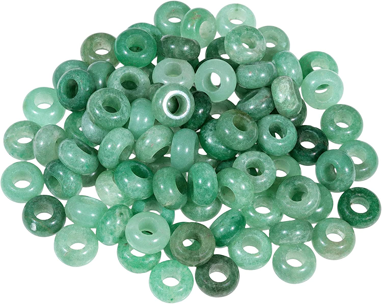Large Hole 20pcs Natural Green Aventurine-onyx-rose quartz gemstone European Crystal Charms Beads Spacers Fit  Snake Chain Charm Bracelets