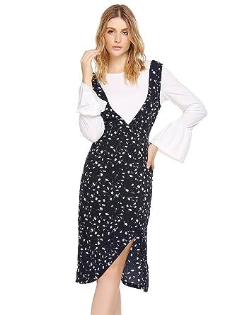 d45610691ccc76 Damen Casual Herbst Blumen Druckkleid Knielang Jerseykleid Swing Kleid mit  Schlitz