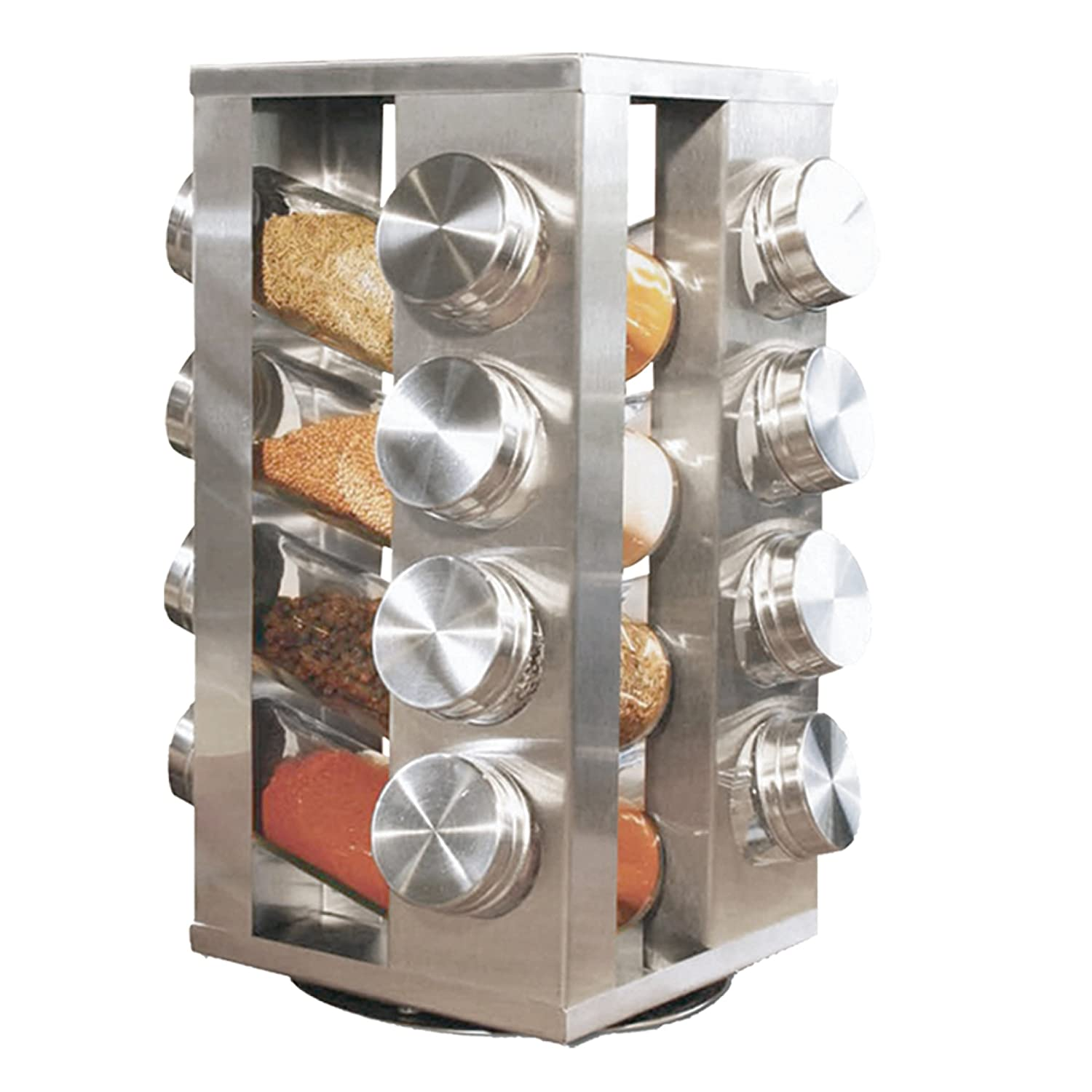 Spice rack with 16 jars stainless steel revolving stainless steel amazon co uk kitchen home