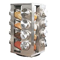 Spice Rack With 16 Jars, Stainless Steel, Revolving (Stainless Steel)