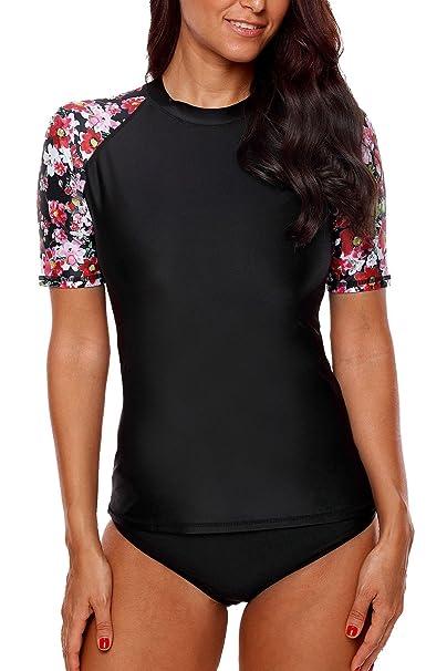 3a12f8f95d641 Sociala Rash Guard Women Short Sleeve Swim Shirt Print UV Protection  Rashguard M
