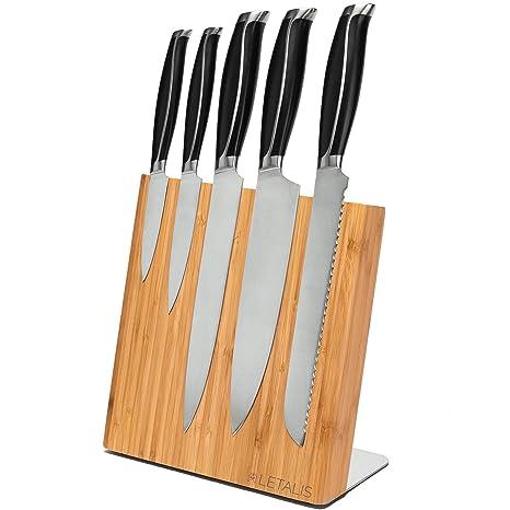 Letalis Soporte magnético para Cuchillos de Madera de bambú sin Cuchillos, Cocina ordenada y constructiva