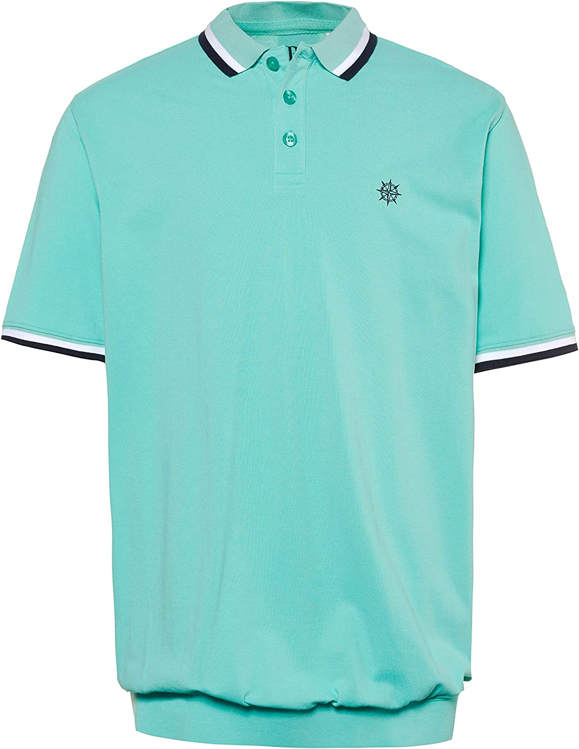 JP 1880 Mens Big /& Tall Contrast Stripe Polo Shirt Turquoise XXXXXXX-Large 714328 46