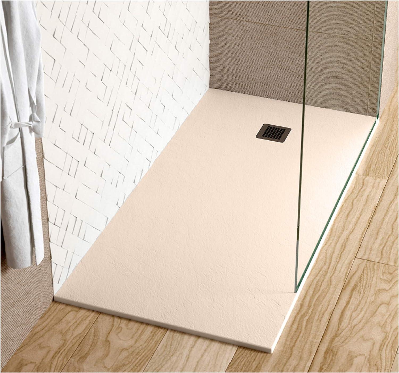 Plato de ducha IBIZA en Resina con textura Pizarra. 100 x 80 cm, Beige