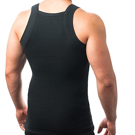 f81b6032 Men's G-unit Style Tank Tops Square Cut Muscle Ribbed Wife Beater Underwear  Shirts (S, Black): Amazon.in: Clothing & Accessories