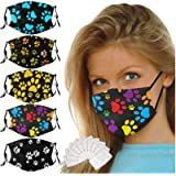 5 Pack Funny Paw Print Face_Mask Decorative Face_Masks for Women, Owill Washable Reusable Adjustable Cloth Fabric…