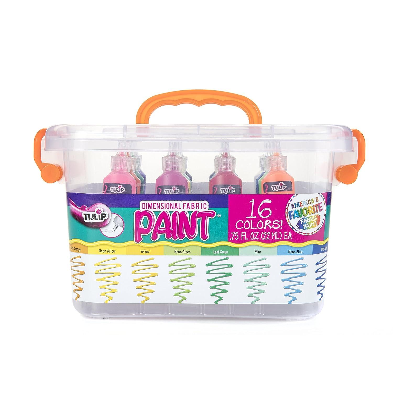 Tulip Dimensional Fabric Paint Big Box, Creative Party Kit, Includes Reusable Plastic Bin, Permanent 3D Paint for Fashion DIYs, Rock Painting, Arts & Crafts, Rainbow Colors, 16-Pack iLoveToCreate 37235