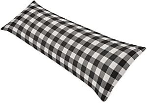 Sweet Jojo Designs Buffalo Plaid Body Pillow Case Cover (Pillow Not Included) - Black and White Check Rustic Woodland Flannel