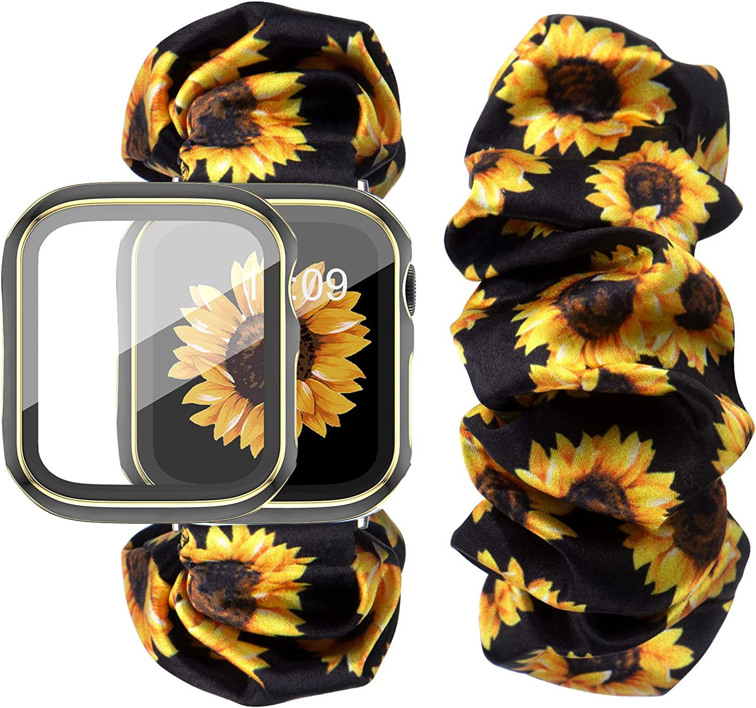 DABAOZA Compatible for Apple Watch Band 38mm 42mm with Case, Women Soft Scrunchie Sunflower Elastic Flower Pattern Replacement Wristband for iWatch Band Series 3/2/1