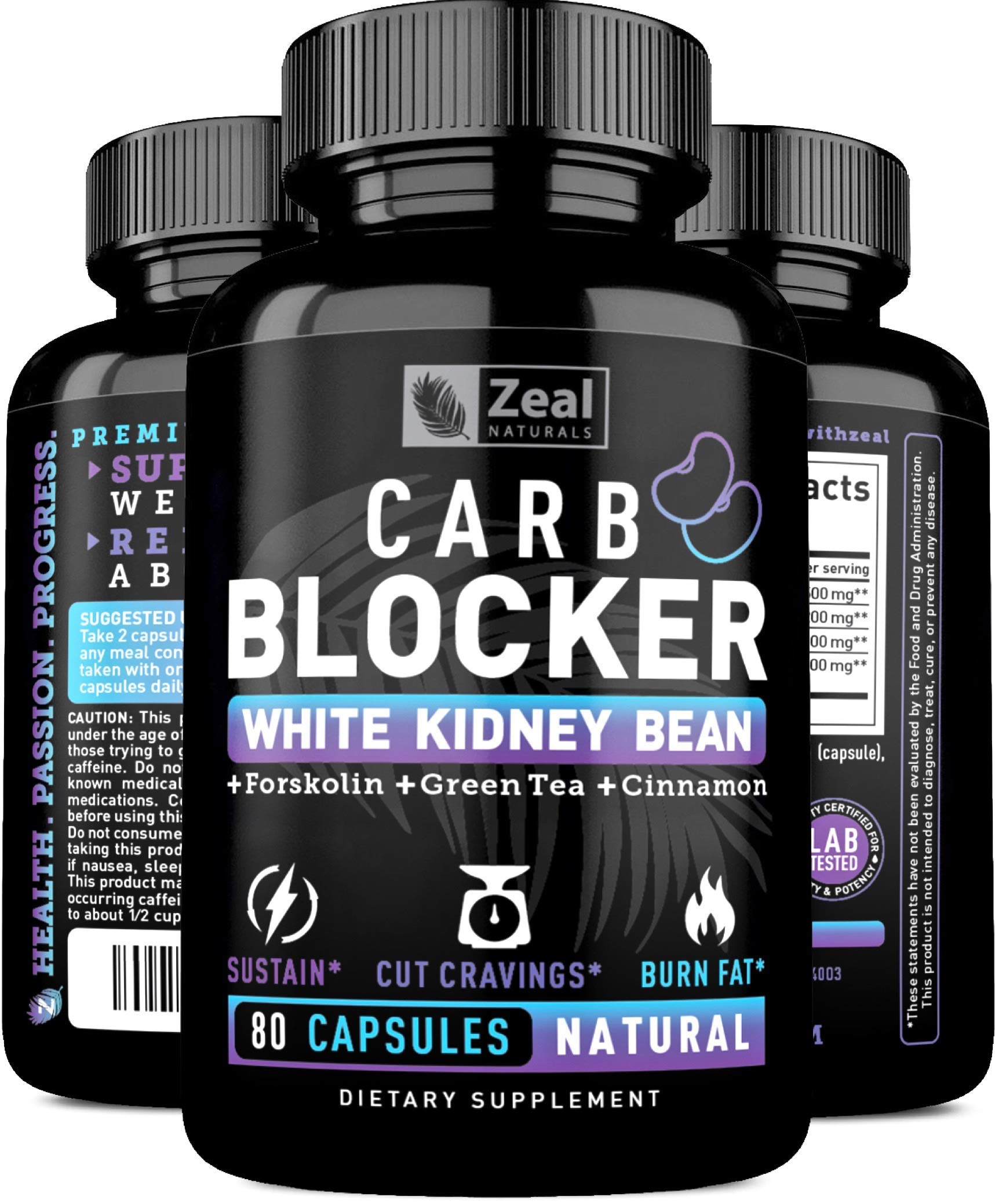 Keto White Kidney Bean Carb Blocker + Forskolin [80 Capsules] White Kidney Bean Extract & Forskolin Extract for Healthy Weight Management & Carb Intercept w Green Tea - Starch Inhibitor for Keto Diet by Zeal Naturals