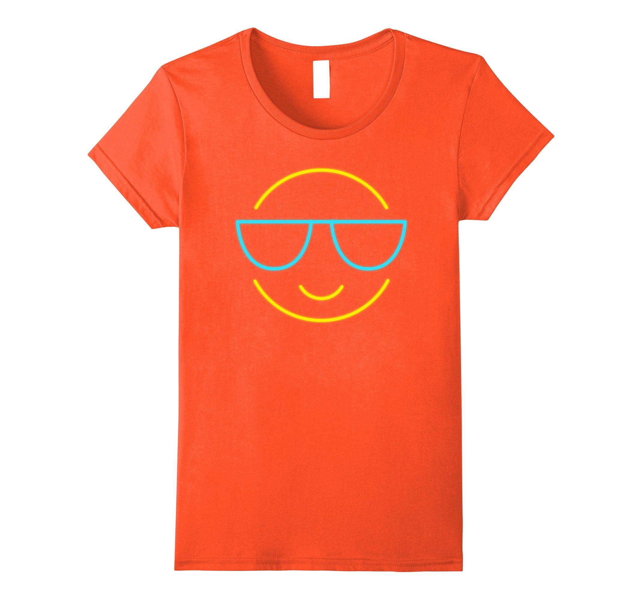 Womens 80s Retro Neon Sign Aloha Emoji T-Shirt. 80's Gift Small Orange