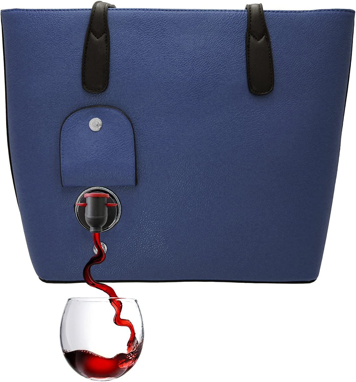 PortoVino Wine Purse (Blue) - Fashionable purse with Hidden, Insulated Compartment, Holds 2 bottles of Wine! / Great Gift! / Happiness Guaranteed!