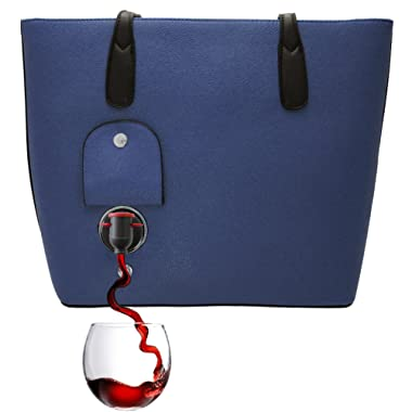 PortoVino Classic Wine Purse (Navy) - Fashionable purse with Hidden, Insulated Compartment, Holds 2 bottles of Wine!