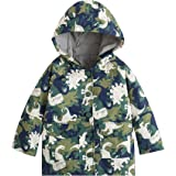 YNIQ Boys' Military Dinosaur Coated Raincoat for Toddler Boys