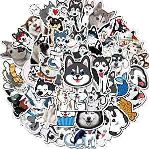 Cute Siberian Husky Dog Stickers (50 PCS) Funny Animal Stickers for Teens, Girls, Adults,Kids - Stickers for Waterbottles,Laptop,Phone,Hydro Flask - Waterproof Vinyl Sticker (Siberian Husky)