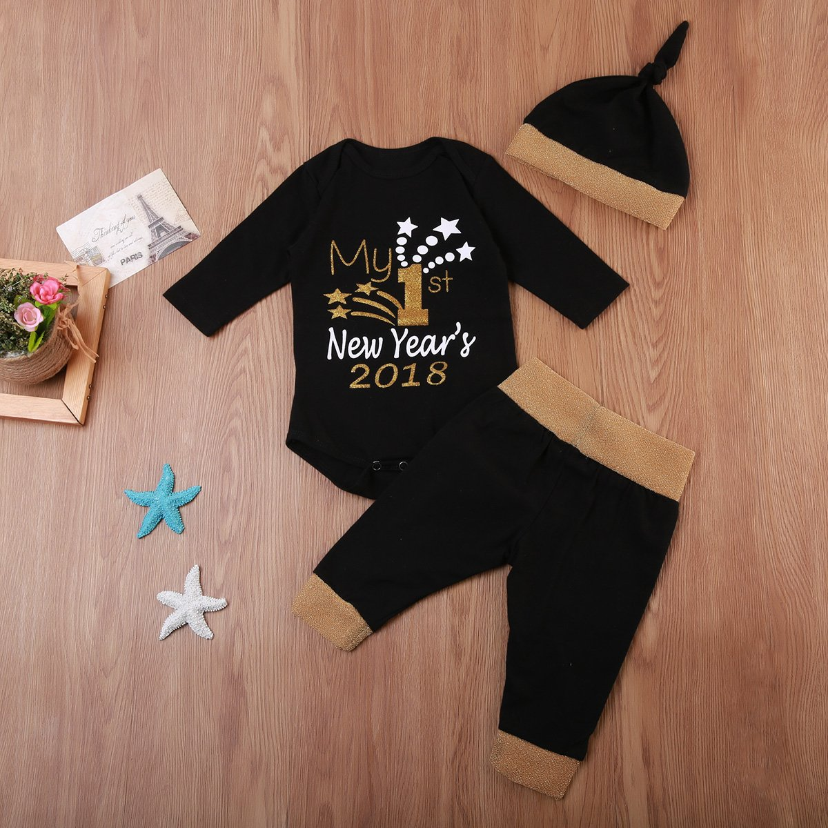 909f2c973a63 Amazon.com  Baby Christmas Outfits Set My First New Year 2018 Romper ...