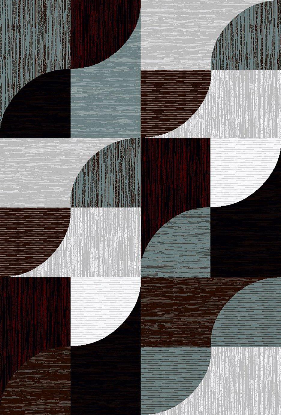 プレミアム3d手彫りモダン5 x 7 Rug Contemporaryカーペット5656グレーGray Burgundy   B07B9JCYJX