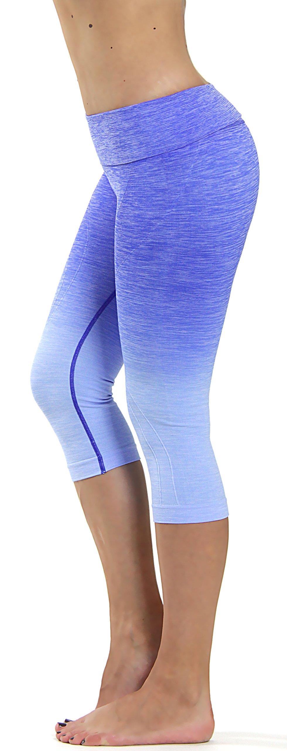 Prolific Health Fitness Power Flex Yoga Pants Leggings XS - XL (Large, Capri Ombre Royal Blue)