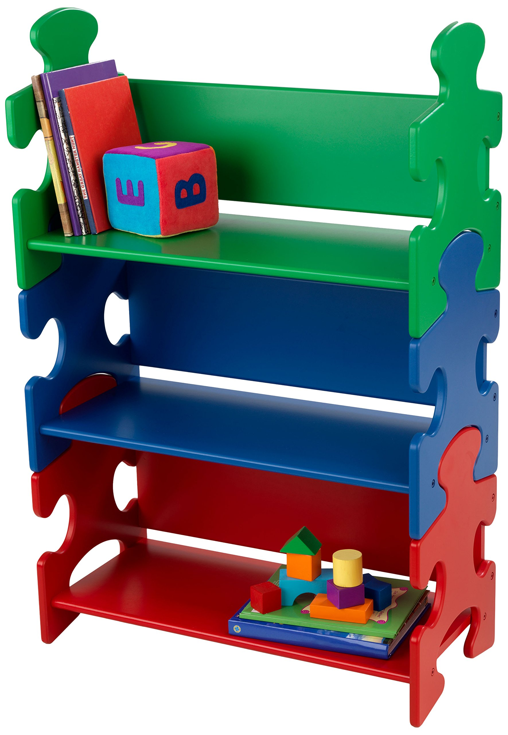 KidKraft Wooden Puzzle Piece Bookcase with Three Shelves - Primary by KidKraft