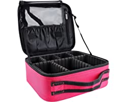 GZCZ Makeup Travel Bag 10.4 Inches Cosmetic Case Professional Make Up Bag Cosmetic Brush Organizer Bag with Adjustable Divide