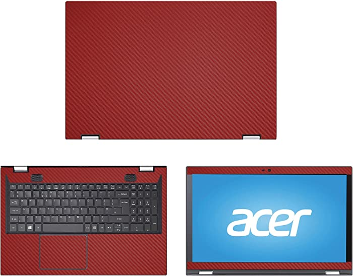 """Decalrus - Protective Decal for Acer Spin 3 SP315-51 (15.6"""" Screen) Laptop RED Carbon Fiber Skin case Cover wrap CFacerSpin3_sp315Red"""